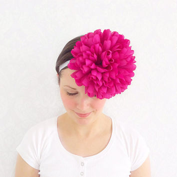 Pink Oversized Pom Pom Flower Crown Head Piece, Fascinator, Floral Bridal Headband, Shabby Chic, Wedding Gift Ideas, Fashion Accessory.