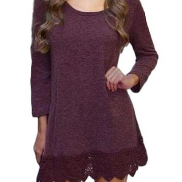 Women's Plum Lace Trim Mini Dress/Tunic Top
