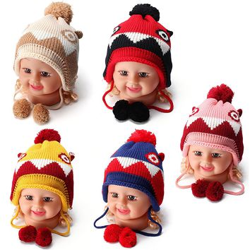 Baby Boys Girls Wool Knitted Toddler Warm Furry Ear Pom-Pom Beanie Hat