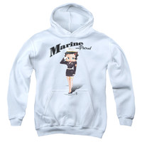 BOOP/MARINE BOOP-YOUTH PULL-OVER HOODIE - WHITE -