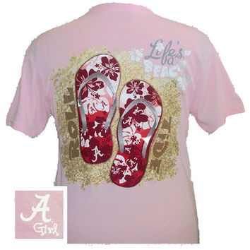 New Alabama Crimson Tide Summer Beach Flip Flop Pink Bright T Shirt