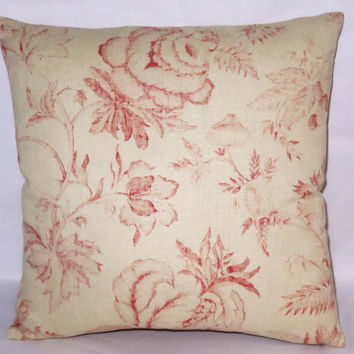 "Coral and Vanilla Floral Pillow, 17"" Square Linen, Pale Peach Pink, Faded Flowers,  Zipper Cover Only or Insert Included, Ready to Ship"