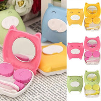 New Cute Cartoon PIGGY Mini Contact Lens Case Travel Kit Easy Carry Container Mirror Tweezer Bottle Holder Box = 1645432388