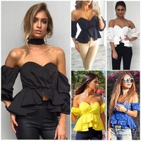 Off-Shoulder Crop Top Shirts