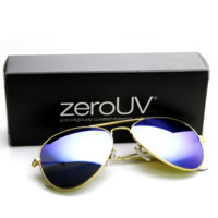 "Zerouv + Plus ""Cunningham"" Premium Gold Frame Revo Mirrored Lens Aviator Sunglasses"