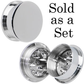 "1"" Stainless Steel Herb Stash and Grinder Plug Set 
