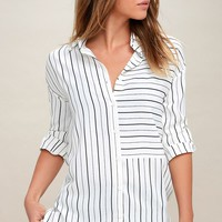 Well Worn Black and White Striped Button-Up Top