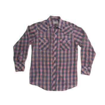 Vintage Plaid Western Shirt - Plaid Pearl Snap Button Plaid Button Down Long Sleeve Shirt