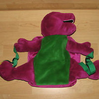 "1990's Plush Barney the Dinosaur Backpack Back Pack School Bag 17"" Tall Boy Girl"