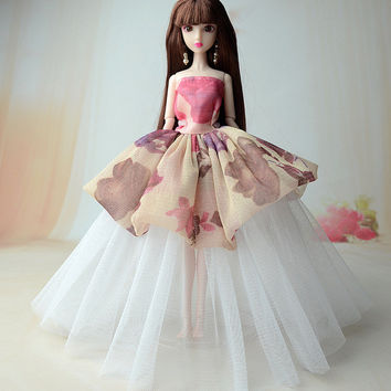 NK One Pcs New handmade wedding Dress Fashion Clothing Gown For Barbie doll Fashion Design Outfit Best Gift For Girl' Doll 011H