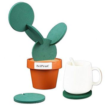 TriProC Original Coasters Set of 6 Pieces With Creative Cactus Shaped Design For Holiday Gift amp Home Decoration