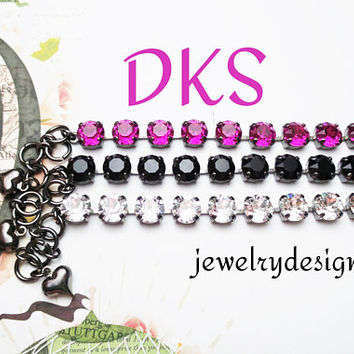 Layered and Pretty, Swarovski 8mm Bracelet, Bridal, Everyday Wear, Adjustable, Choose Finish, Colors, DKSJewelrydesigns,FREE SHIPPING