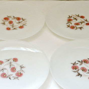 Set of 4 Vintage Fire King White Milk Glass Fleurette dinner plates retro antique milk glass pink brown floral design