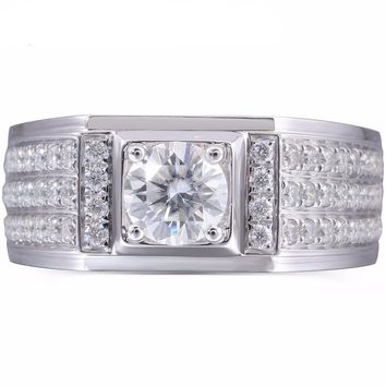 Men's 1ct Lab Grown Moissanite Diamond Wedding Ring