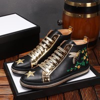 Gucci Men's Fashion Vogue boots Leisure sports leather Shoes