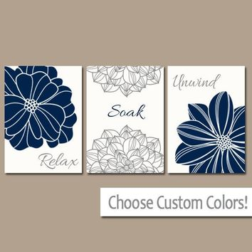 NAVY GRAY BATHROOM Wall Art, Canvas or Prints, Navy Gray Bathroom Decor, Flower Bathroom Quote Pictures, Relax Soak Unwind, Set of 3