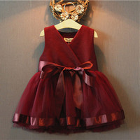 Baby Flower Girls Dress Party Lace Tulle Gown Formal Bridesmaid Dresses 2-7Y