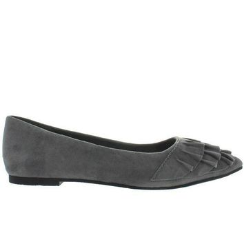 Seychelles Downstage   Grey Suede Ruffled Slip On Flat