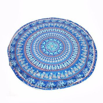 ESBU3C 2016 Vintage Printed Round Tassels Indian Mandala Tapestry Hippie Mat Wall Hanging Summer 150cm Beach Towel Large Scarf