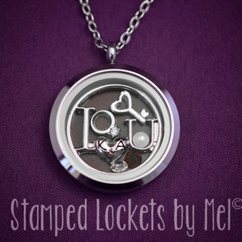 I <3 U (I Love You) - Hand Stamped Stainless Steel Necklace - Floating Glass Memory Locket - Couple Locket Initials Anniversary