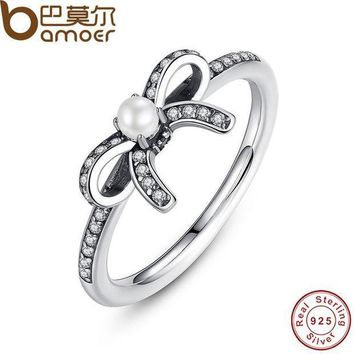 CREYCI7 BAMOER 925 Sterling Silver Delicate Sentiments Finger Ring with White Pearl & Clear CZ Original Engagement Ring PA7160