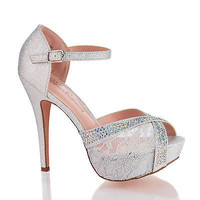 Vice98 Silver Lace By Blossom, Rhinestone Studded Peep Toe Platform Ankle Strap Stiletto Heels