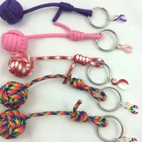Monkey fist Keychain Awareness Ribbon charm 550 Paracord made to order