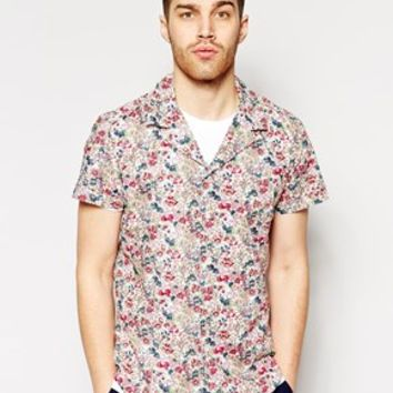 Antony Morato Short Sleeve Cuban Collar Shirt With Floral Print In Slim Fit