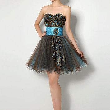 Black Beaded Peacock Feather Patch Tulle Mini Dress