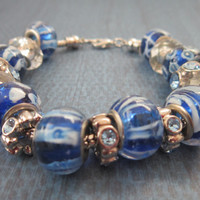 Blue and White Glass Bead European Style Bracelet with Rhinestones