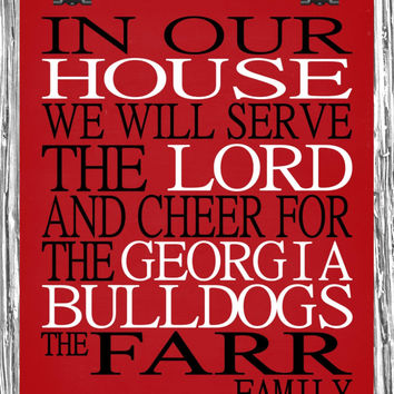 Customized Name Georgia Bulldogs NCAA personalized family print poster Christian gift sports wall art - multiple sizes