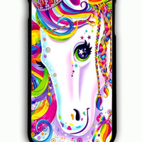 iPhone 6 Plus Case - Hard (PC) Cover with Lisa Frank Majesty The Rainbow Horse Plastic Case Design