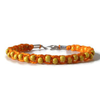 orange macrame hemp bracelet with yellow wooden beads, unisex friendship bracelet for adults, lenght adjustable knotted slim wristlet