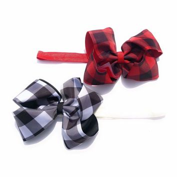 Girls 6 inch Grosgrain Buffalo Plaid Check Lumberjack Print Bow Soft Elastic Headband