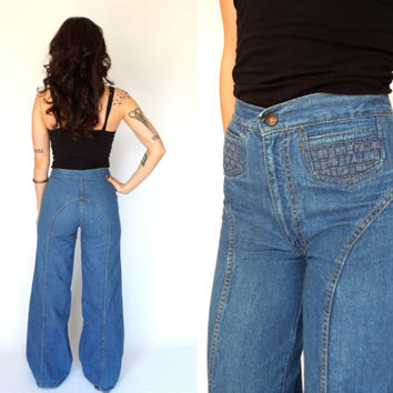 70's High Waist Braided Denim Bell Bottom Jeans Wide Leg Pants 27