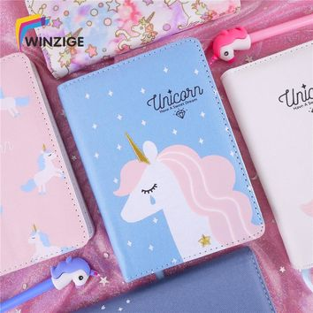 Korean Kawaii Unicorn Notebook Bullet Journal Agenda Planner Cloth Cover Notebook Diary Monthly Weekly Planner Schedule Chancery
