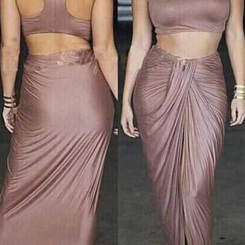 Two Piece Crop Top and Ruched Brown Skirt