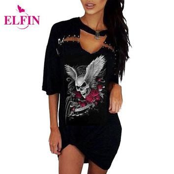 Punk Style Women T-Shirt Dress Summer Black Sexy Skull Print Dress Women Clothing Plus Size LJ8515R