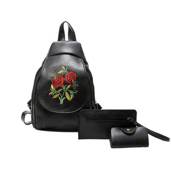 Fashion 3pcs Women Backpack Set school bag Embroidery Floral Faux Leather mini Backpack Shoulder Bag mochila feminina Hot Sale