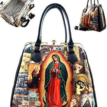 Virgin Mary Fashion Clutch Zip Faux Leather Handle Black