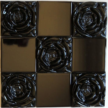 Goth Black Rose  Black Rose Tile