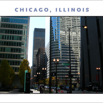 Touches of Green, Aquas in Chicago Cityscape New Photo Wall Art #976
