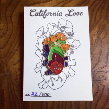 California Love Heart Enamel Pin