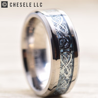 8MM Titanium Ring Wedding Band Celtic Dragon Design over Blue Carbon Fiber Inlay | FREE ENGRAVING