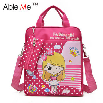 AbleMe Dot Printing Fashion Kids Student Tote Bags Boys And Girls Backpack Tutorial Book Art School  Bags For Children