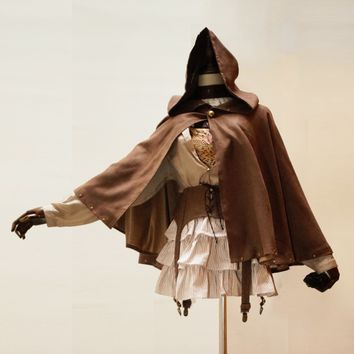 Punk Gothic Steampunk  Halloween Brown Cloak Jacket Cosplay Party Coat