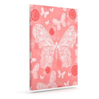 "Monika Strigel ""Butterfly Dreams Coral"" Pink White Canvas Art"