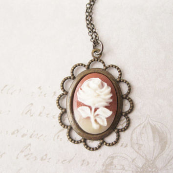 Rose Cameo Necklace. Romantic Jewellery. Floral. Boho. Vintage Carnelian Cabochon.  Antiqued Brass. Mother's Day Gift.