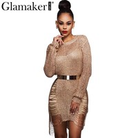 Glamaker Sexy hollow out women dress Autumn long sleeve club casual dress Sexy see-through nightclub party dresses vestidos gold