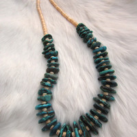Kingman Turquoise. Heishi Shell. Necklace. Southwest. Boho.